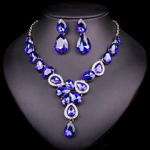 Brautschmuck set silber  Aliexpress.com : New Luxury Silber Überzogene Blaue Kristall Dubai ...