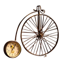 Vintage Metal Bicycle Home Ornaments Toys For Children Clock Miniature Models Retro Creative Decorations Accessories