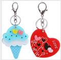 cartoon heart-shaped Ice crea key chain acrylic small mirror key chain bags pendant car key chain keyring