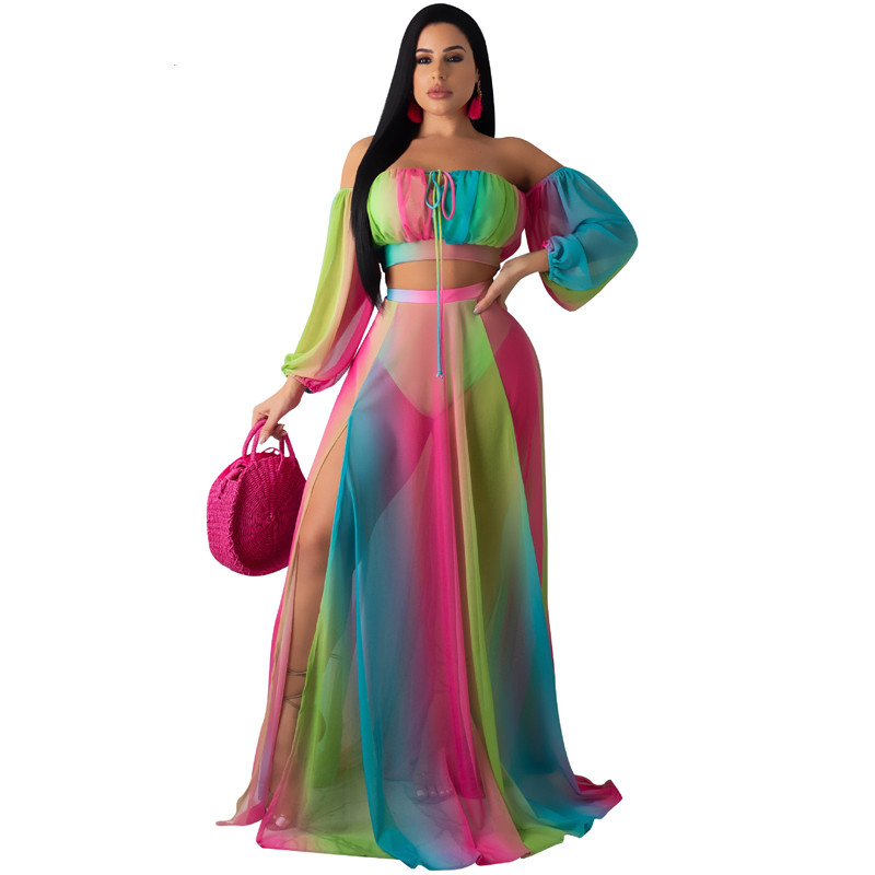 Summer Chiffon 2Pcs Swimsuit With Cover Up Beach Dress Set Sexy Rainbow Print Crop Top+High Maxi Skirt Swimwear Women Beachwear