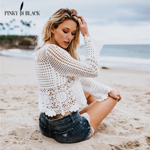 PinkyIsBlack knitting pullover Fashion lace embroidery summer autumn sweater women tops Casual hollow out jumper femme