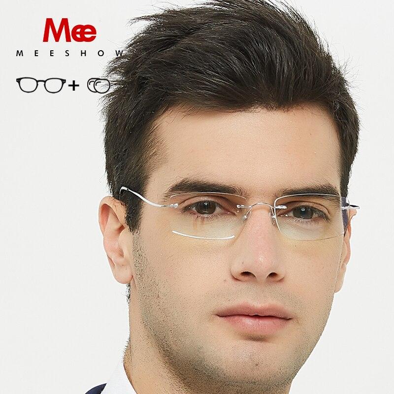 aae1988dc3 Meeshow Titanium glasses frame rimless frame women men Chic Ultralight Eyeglasses  stylish Prescription Glasses MR glasses