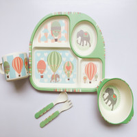 Bamboo fiber children tableware 5pcs / set baby dishes Plate bowl cup Forks Spoon Dinnerware feeding Set food container cutlery