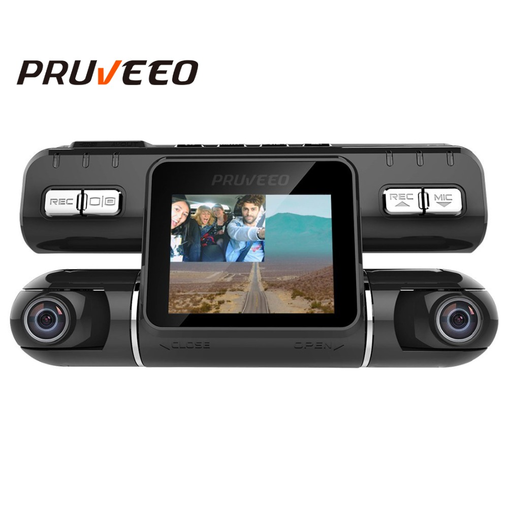 Pruveeo MX2 Dash Cam Avant et Arrière Double Caméra pour les Voitures 240 Degrés Grand Angle