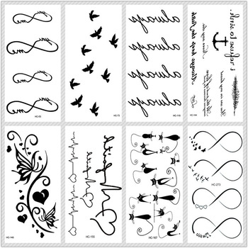 Rocooart Classic Black Tattoo Cat Bird Fake Tattoo Tatuajes Hand Tatouage Body Waterproof Temporary Tattoo Sticker Small Taty 1