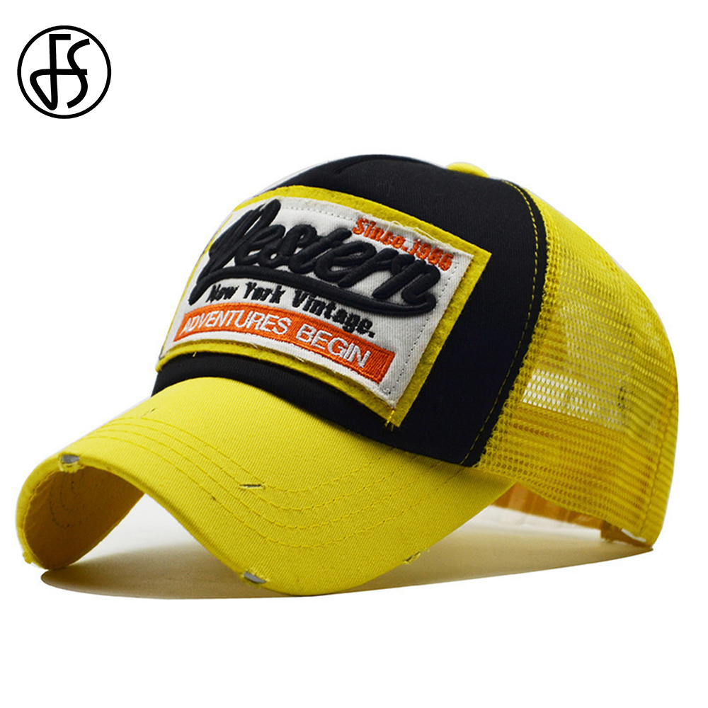 FS Summer Baseball Mesh Cap Breathable Bone Trucker Caps Cotton Yellow Green Hip Hop Women Men Basket Femme Streetwear Face Hat