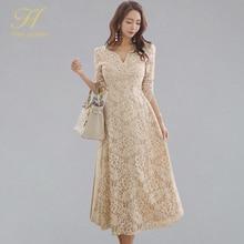 H Han Queen Vestido largo de encaje para mujer