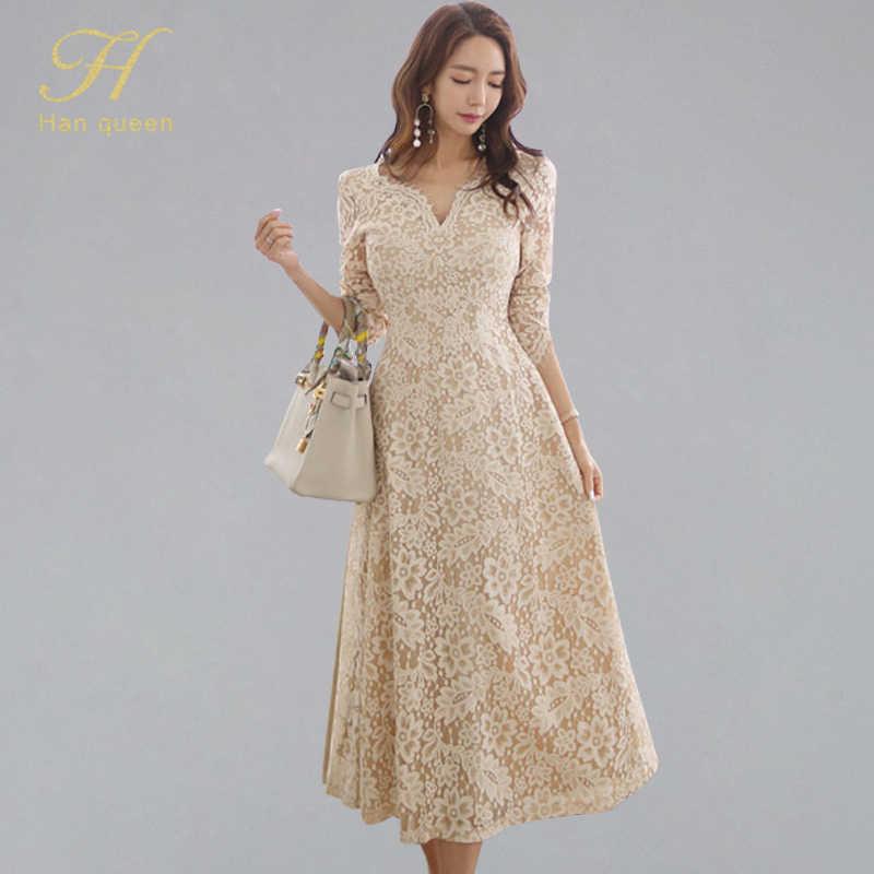 H Han Queen tempéré a-ligne dentelle robe femmes printemps manches longues robes Swing OL Occasion spéciale soirée fête robes