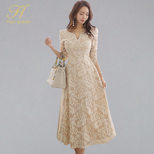 H Han Queen umiarkowana linia koronkowa sukienka kobiety wiosna pełna rękaw długie sukienki huśtawka OL specjalna okazja wieczór Party Vestidos
