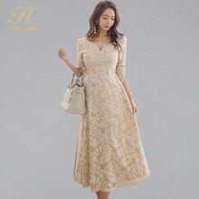 فستان نسائي H Han Queen فستان واسع من الدانتيل بأكمام طويلة ربيعية فساتين طويلة مناسبة خاصة للحفلات المسائية