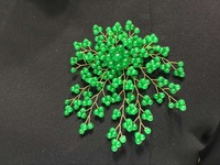 Latest Design 4 Inch 4mm Green Jade Bead Leaf And Flower Shape Brooch