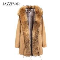 Новое поступление парка с мехом 2018 брендовые длинные Для женщин зимнее пальто натуральный енота Меховая куртка роскошный большой съемный в