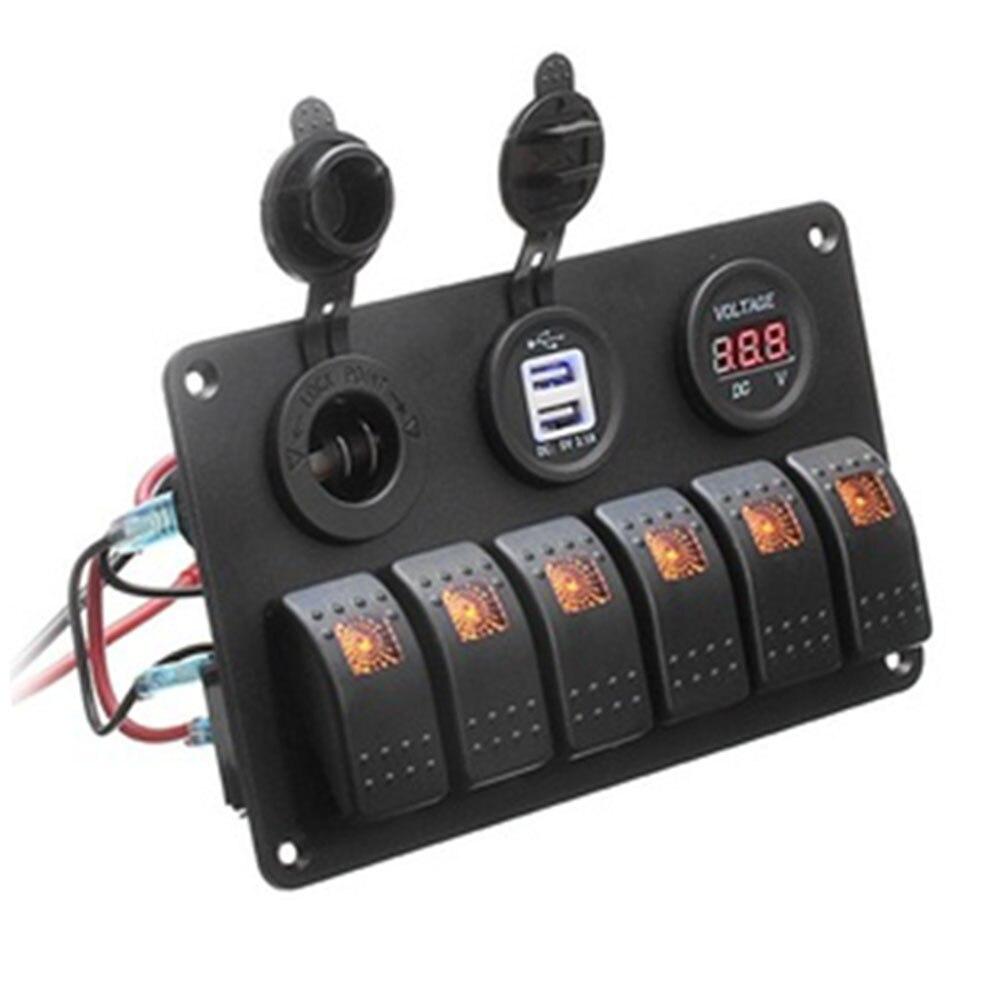 Переключатель 6 банд автомобильный переключатель панель грузовик двойной USB прочный светодиодный караван - Цвет: orange