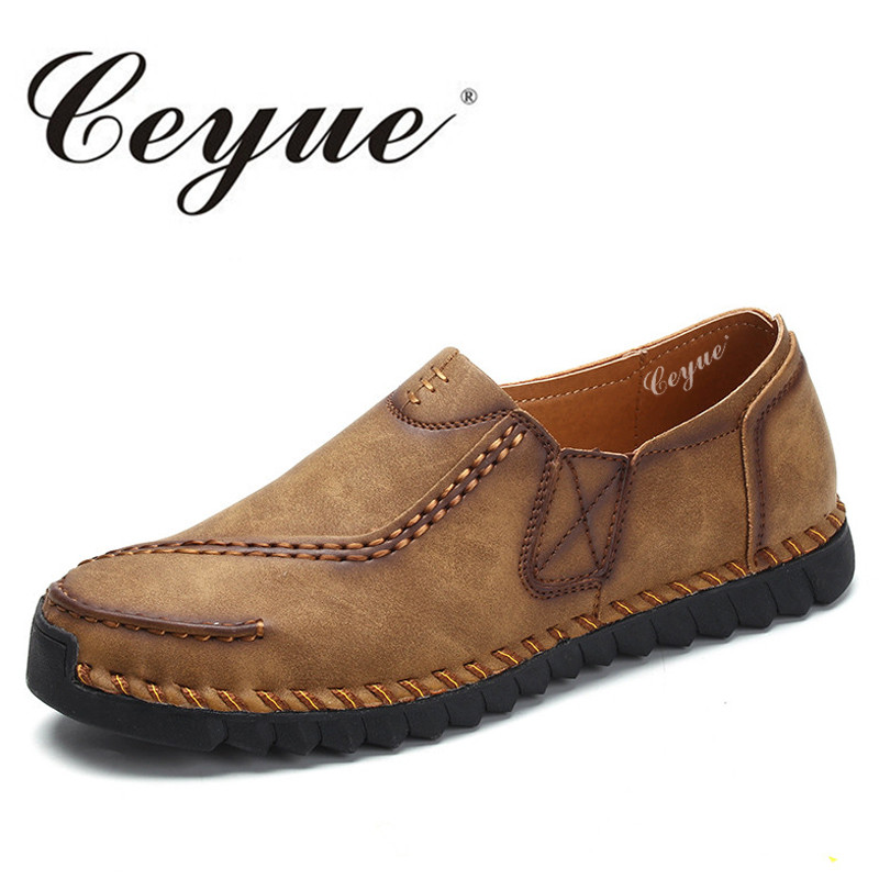 Ceyue Top Quality Genuine Leather Men Casual Shoes Soft Moccasins Loafers Slip On Peas Shoes Men Flats Comfort Men Driving Shoes british slip on men loafers genuine leather men shoes luxury brand soft boat driving shoes comfortable men flats moccasins 2a