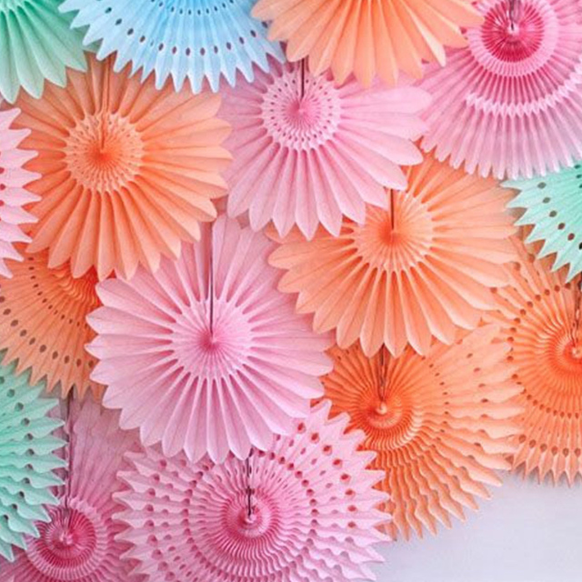 New 5pcs Tissue Paper Fan Diy Crafts Hanging Wedding: Different Size Tissue Paper Fans Party Wedding Birthday
