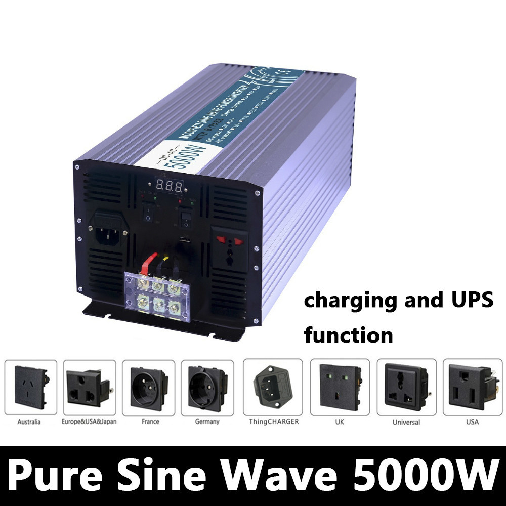 цена на 5000W Pure Sine Wave Inverter,DC 12V/24V/48V To AC110V/220V,off grid UPS solar inverter,voltage converter with charger and UPS