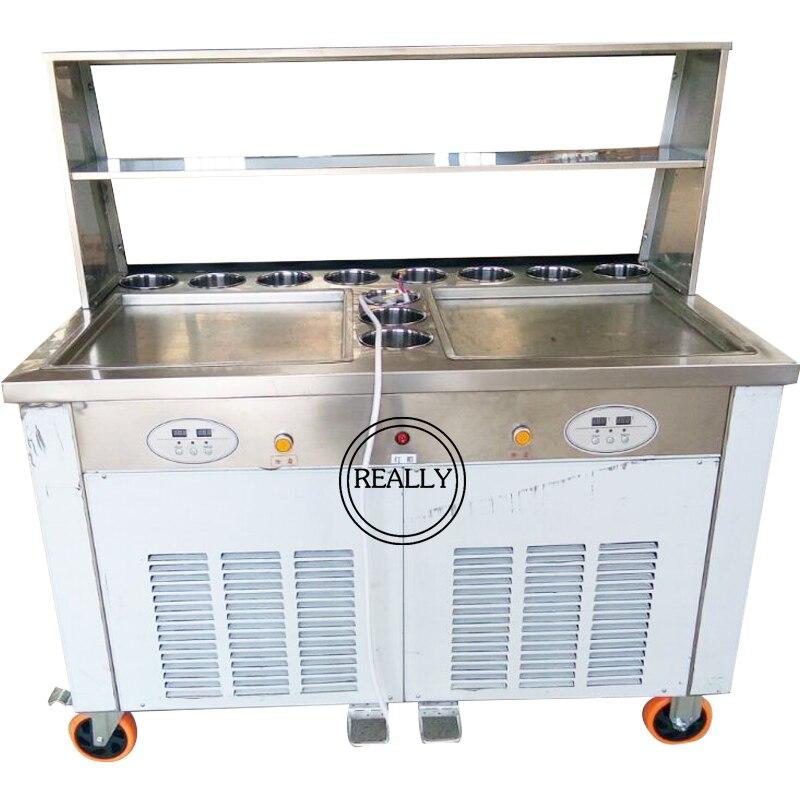 Livraison gratuite par mer les casseroles carrées doubles 110 V avec 11 réservoirs de garniture de machine à rouleaux de crème glacée frite avec réfrigérant R410A