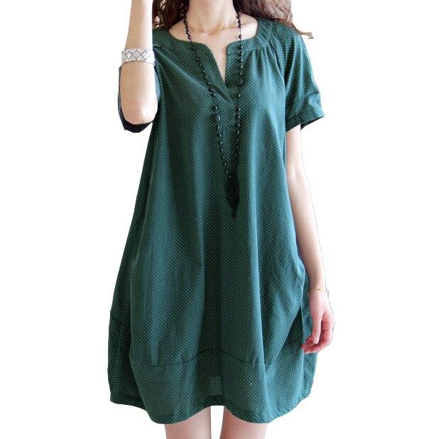 5a8fdd1dd Algodón Lino camiseta Vestidos 2017 verano v-cuello formal Vestidos casual  ropa de mujer Moda Verde negro vestido vintage