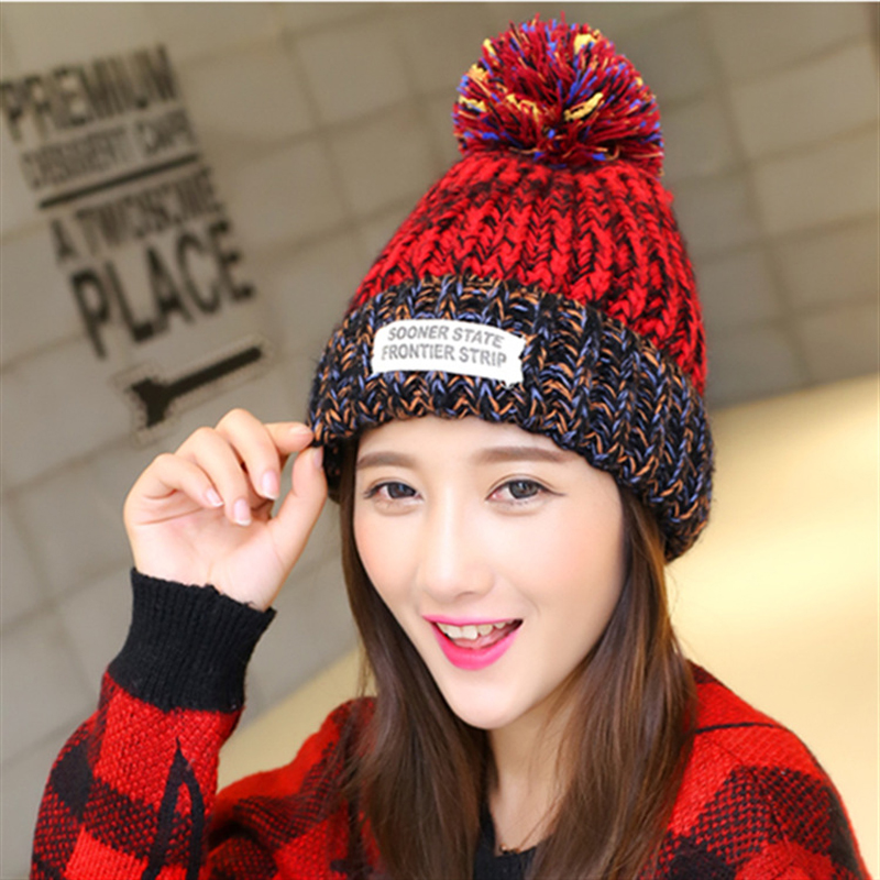 1pcs Brand Warm Baggy Cap Women Spring Winter Hats Skullies Beanies Knitted Cap For Woman Crochet Hat Bonnet Femme Gorros 2017 new women ladies cable knitted winter hats bonnet femme cotton slouch baggy cap crochet beanie gorros hat for women