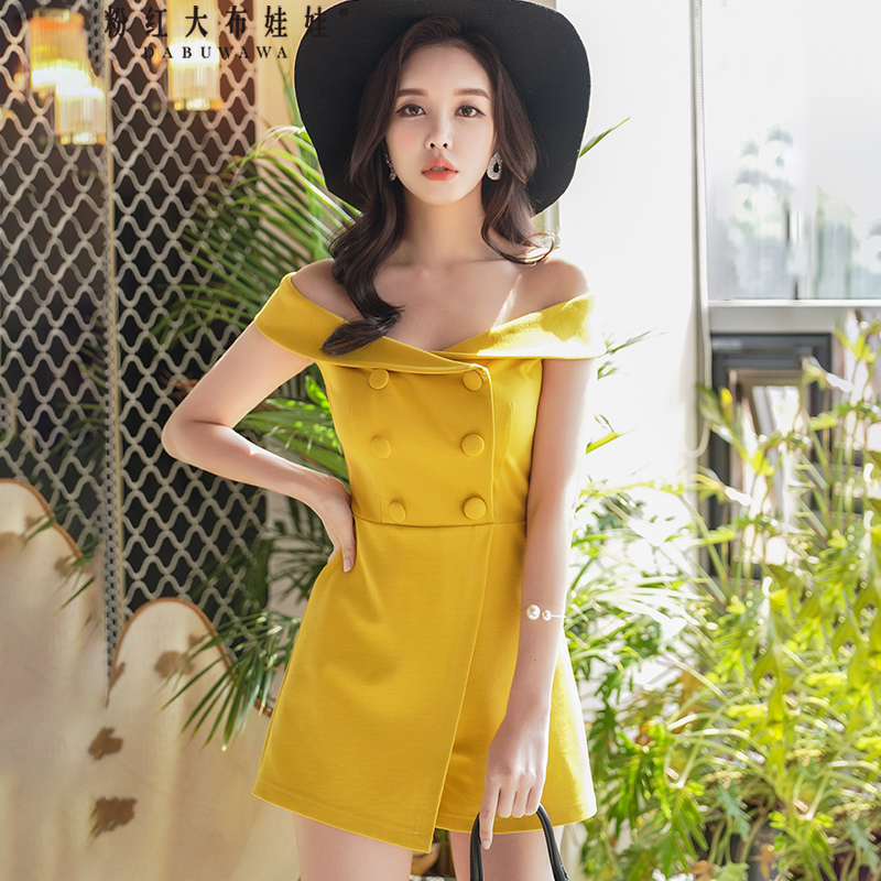 original 2018 brand high waist fashion double breasted off the shoulder summer playsuits women wholesale ...
