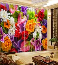 modern curtains for bedroom Beautiful colored flowers girls curtains for bedroom window cutains(China)