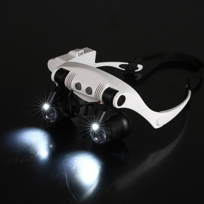 f4ddbaf75a9 LED Lupa 10X 15X 20X 25X Dupla Olho Jóias Alça de Relojoeiro Assista  Ferramentas de Reparo Lente 8 Lanp LED Lupas Microscópio óculos