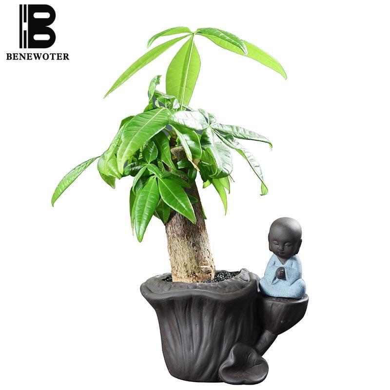 Yixing Purple Clay Buddha Monk Flower Pot Garden Planters Ceramics Pots for Flowers Office Desktop Plant Pot Ceramic Planter Pot