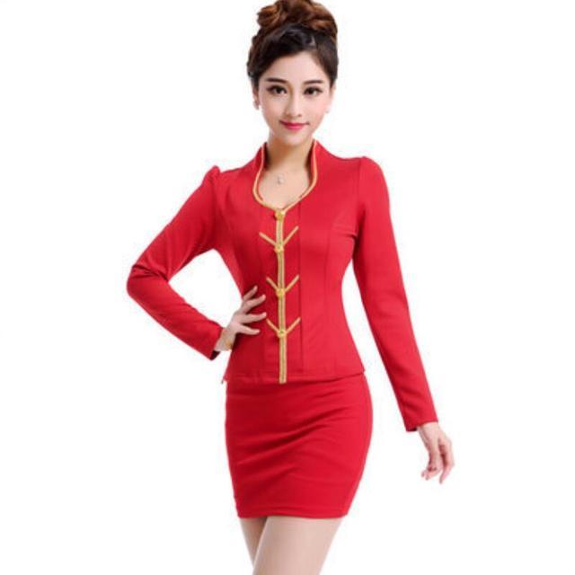 2015 frete grátis China fino vermelho OL uniforme Sexy carreira saia ternos mangas compridas mulheres trabalho veste com alta qualidade