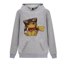 Lovely cartoon animation Pocket Monster Pikachu Printed Illustration Trendy Harajuku Hoodie with Winter Junior Pullover