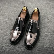 Moda hombre Zapatos vestido primavera otoño Social zapatos masculinos  cómodos Mens oro plata calzado Slip-On zapatos para hombre. cde4db3854f