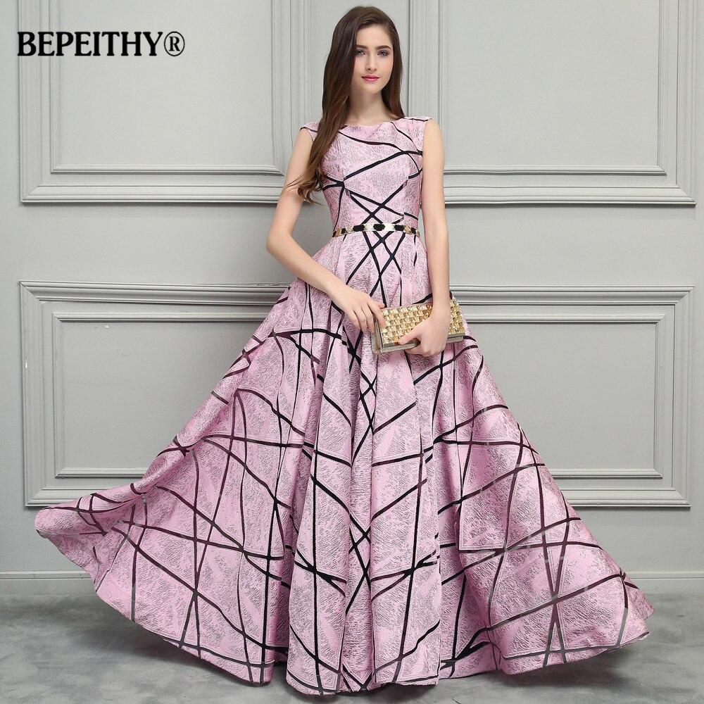BEPEITHY Vintage Pink Long Evening Dress Simple Style New Formal Gowns 2019 Vestido De Festa Longo