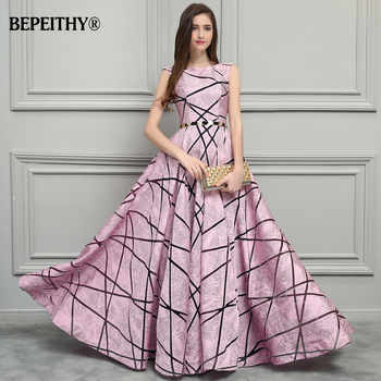 BEPEITHY Vintage Pink Long Evening Dress Simple Style New Formal Gowns 2019 Vestido De Festa Longo With Belt - DISCOUNT ITEM  49% OFF All Category