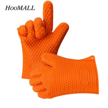 Hoomall 1Pc Thicken Food Grade Silicone Oven Glove Heat Resistant Barbecue Drill Mitt Glove Kitchen BBQ Baking Tool Accessories