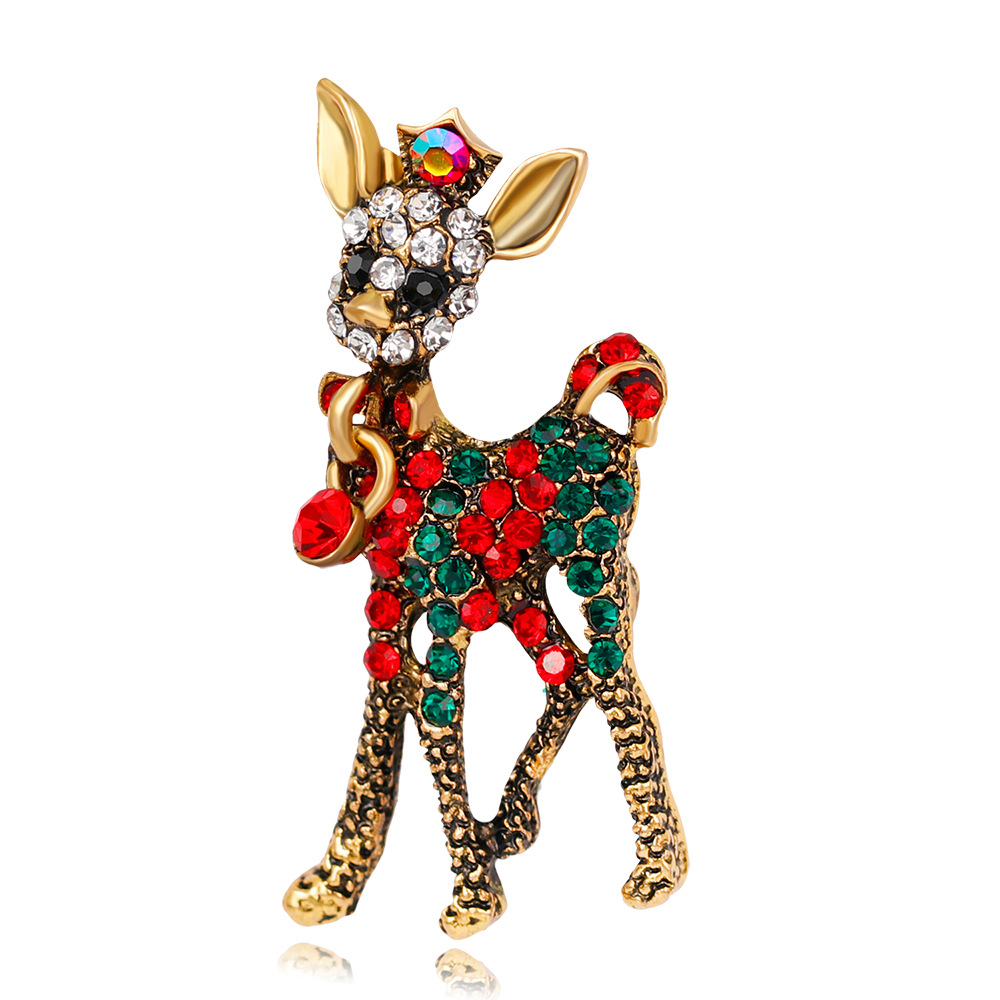 2019 New Fashion Deer Brooches For Women Rhinestones Animal Deer Brooch Pins Dropshipping Gifts