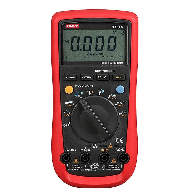 ФОТО UNI-T UT61C Handheld Multimeter Ammeter Ohm Volt C/F Temperature Digital Universal Meter LCD Count 5999 AVO Meter High Precision