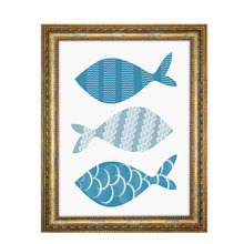 1pcs Fresh And Clean Blue Fish Oil Painting No Frame For Home Decoration China