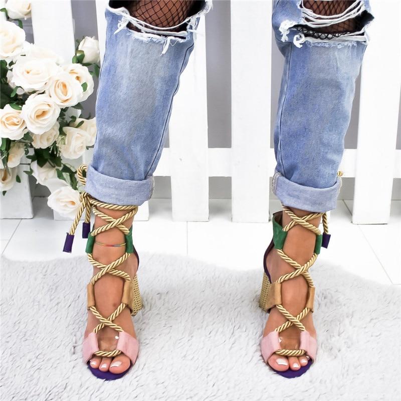 Platform Sandals Espadrilles Heel Lace-Up Women Summer Fish-Mouth Hemp Pointed