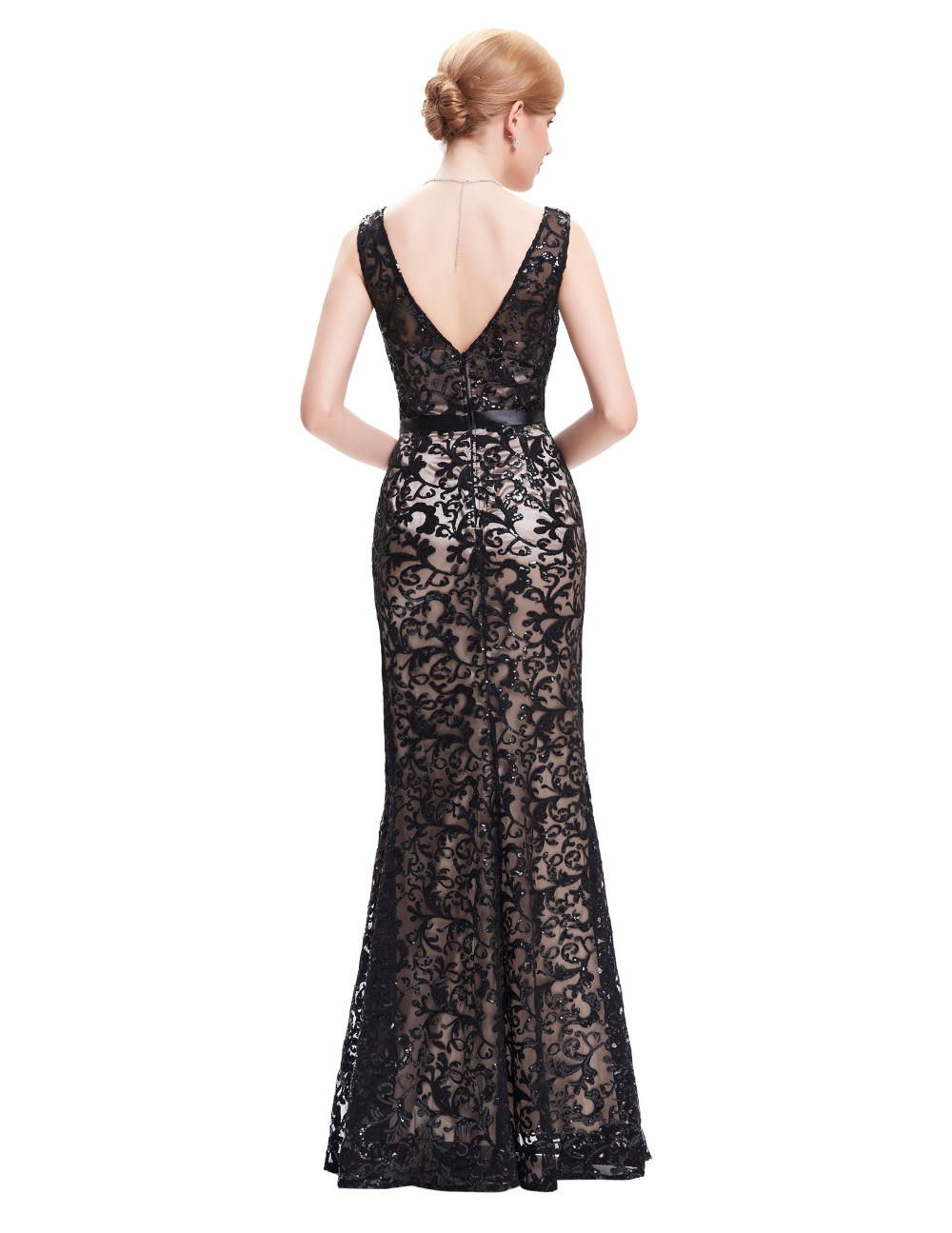 Long Evening Dress Kate Kasin Double V Neck Beaded Evening Gowns Lace Mother of the Bride Dresses Black Formal Prom Dress 0034 10