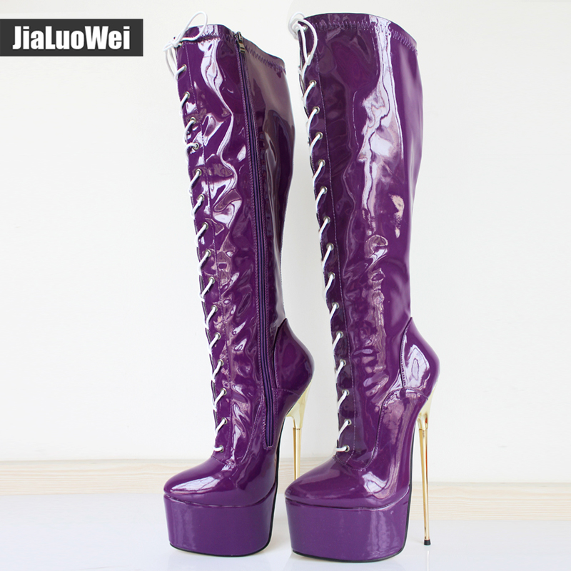 jialuowei 22CM Ultra High Heel Gold Metal Heels PU leather Lace-Up Knee High Platform Women Sexy Fetish Dance Motorcycle Boots jialuowei women sexy fashion shoes lace up knee high thin high heel platform thigh high boots pointed stiletto zip leather boots