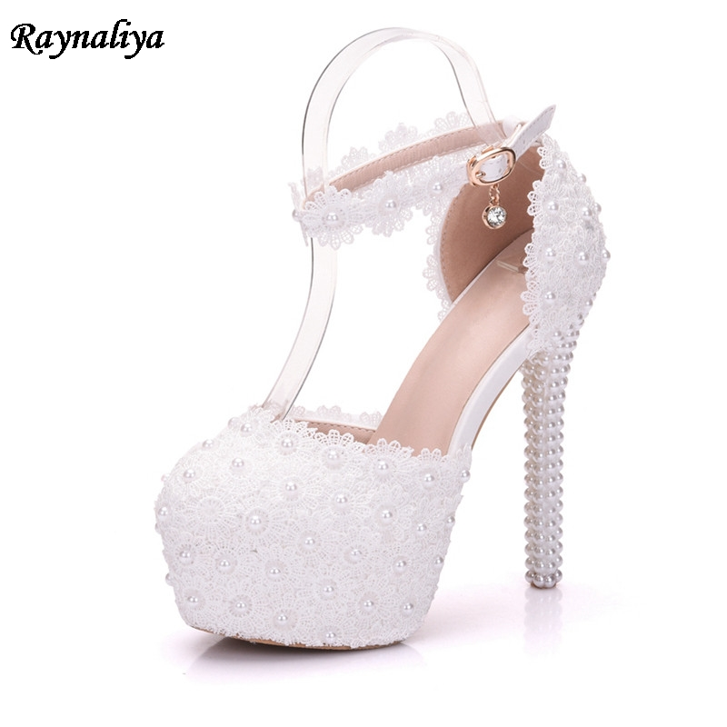 Pearl Flower Elegant Women Wedding Sandals Bride Shoes White Extreme High Heels Platform Lady Sandals Large Size XY A0089 in High Heels from Shoes