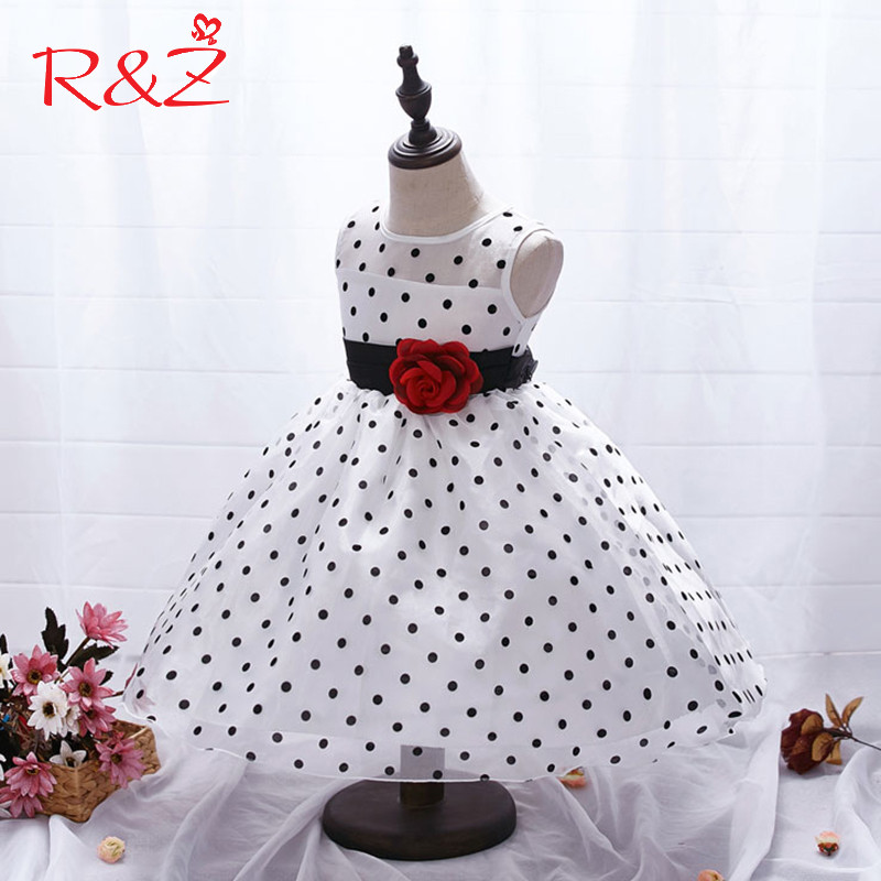 R&Z 2017 Princess Summer Girl Dress Classic White Black Polka Dots Children Dancing Dresses For Little Girl Tutu Dresses