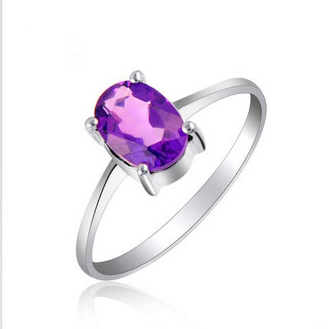 Anel de casamento romântico 100% natural ametista anel de cristal real 925 sterling silver jóias para senhora melhor anel de moda presente