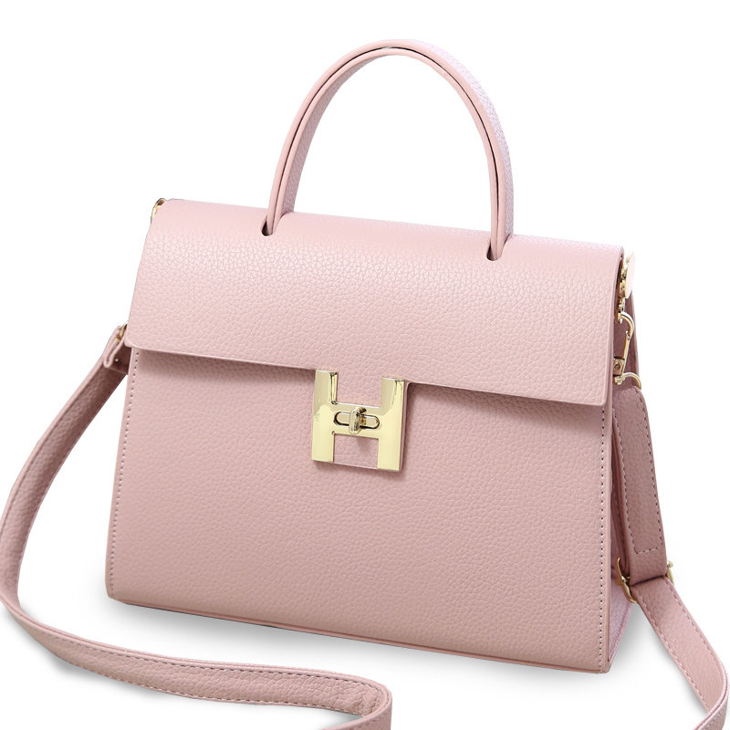 Concise Plain PU Hand Bag 2016 New Trendy Single Shoulder Lady Retro Designer Twist Lock Bag