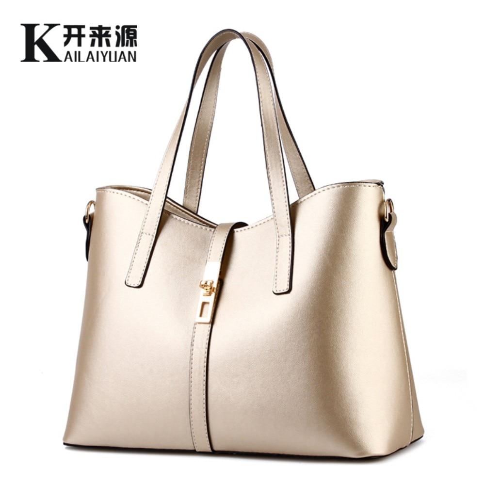 KLY 100% Genuine leather Women handbags 2018 New Simple Shoulder Messenger Bag women's handbag Fashion handbag women famous bag