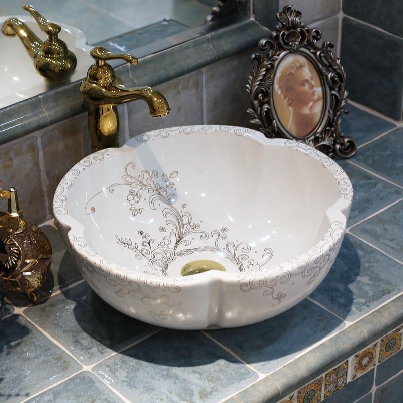Flowers Shape Europe Vintage Style Countertop Basin Sink Handmade Ceramic  Bathroom Vessel Sinks Vanities Wash Basin