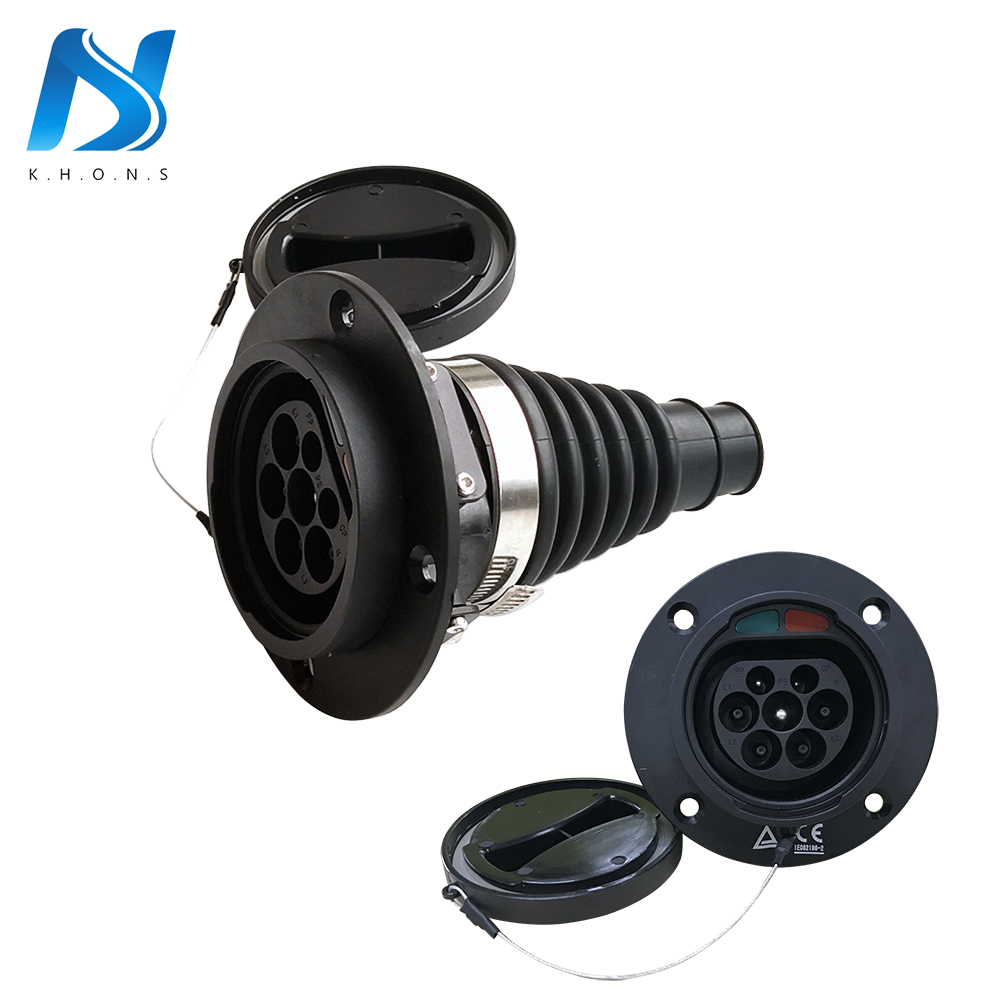 16A 32A Тип 2 EV Автомобильная боковая розетка на входе разъем для электромобиля соответствует стандарту IEC 62196 EV зарядный кабель зарядное устро