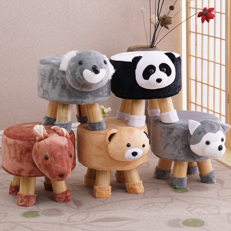 Multi Style Handmade Animal Chair Wood Kids Stools Shoes Sofa with Plush Cartoon Cover Upscale Adult Baby Chairs Small Bench