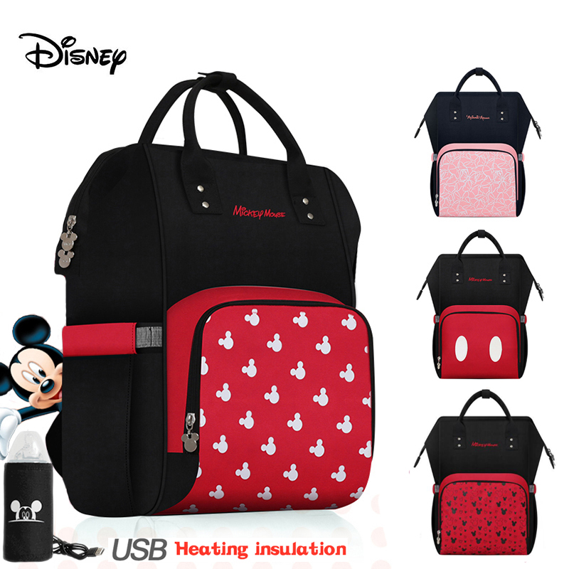 Disney Diaper Bag Backpack USB Bottle Insulation Bags Minnie Mickey Big Capacity Travel Oxford Feeding Baby Care Mummy Nappy Bag