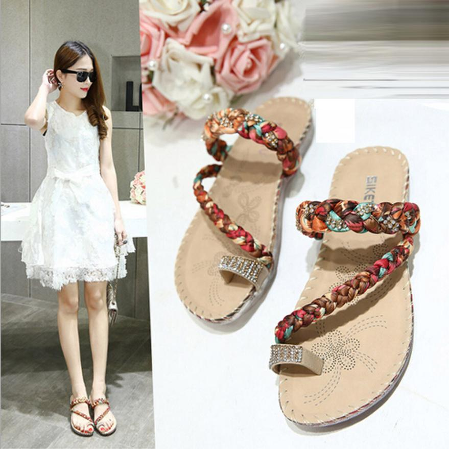 Women Boho Flip Flops Sandals Casual Wedge Clip Toe Beach Shoes Feminino Wedge Flip Flops Women Slipper Shoes Sandalias Mujer 2017 women sandals shoes sapato feminino bownot wedge flip flops fashion beach women slipper shoes bohemia women s shoes flower