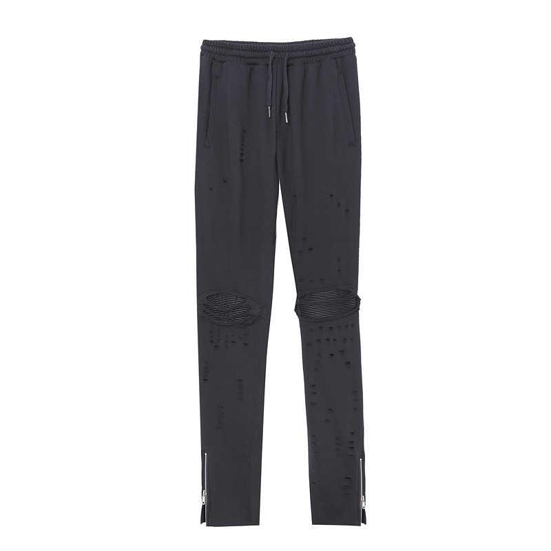 Для мужчин высокого уличный стиль хип-хоп Повседневное Хлопковые Штаны Для мужчин рваные облегающие узкие брюки джоггеры Треники
